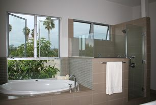 Contemporary Master Bathroom with Master bathroom, frameless showerdoor