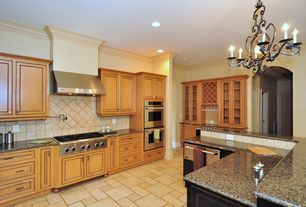 """Traditional Kitchen with """"Galla de Noche"""" Rooster of the Evening 27""""H x 31""""W - 6 Lights Model #04801, Flat panel cabinets"""