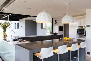 Contemporary Kitchen with electric cooktop, Pendant light, can lights, Standard height, Flush, drop-in sink, U-shaped
