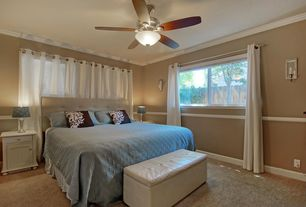 Traditional Master Bedroom with Warehouse of Tiffany Ariel Ivory Faux Leather Storage Bench, Chair rail, Ceiling fan, Carpet