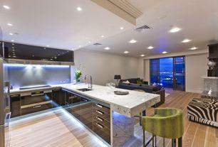Contemporary Kitchen with Undermount sink, full backsplash, Multiple Refrigerators, Daltile OAK TP82 Panel, Paint 1, U-shaped