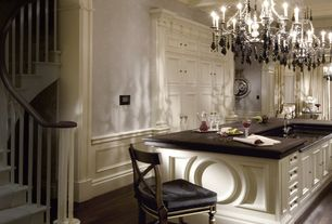 """Traditional Kitchen with Breakfast bar, 19th c. rococo iron & smoke crystal round chandelier 26"""" - matte natural iron"""