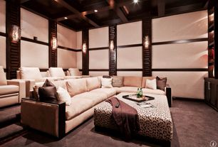 Contemporary Home Theater with Standard height, Built-in bookshelf, can lights, Carpet, Box ceiling, Wall sconce