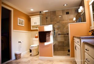 Traditional 3/4 Bathroom with Wainscotting, Crown molding, Undermount sink, Flat panel cabinets, flush light, Simple Granite