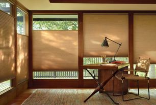 Contemporary Home Office with Hardwood floors, Engineered click hardwood flooring, Top-down/bottom-up cordless cellular shade