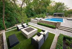 Modern Swimming Pool with Fire pit, Fence, exterior stone floors, Christopher knight home puerta outdoor wicker sofa set