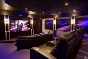 Modern Home Theater with interior wallpaper, Box ceiling, Wall sconce, Carpet