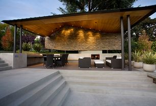 Modern Porch with Pathway, Outdoor kitchen, Raised beds, Screened porch, exterior tile floors