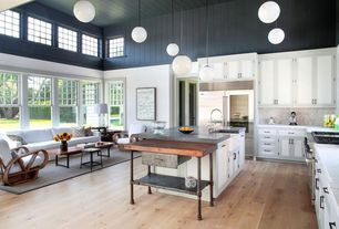 Country Kitchen with Kitchen island, L-shaped, Pental aspen honed marble, Farmhouse sink, Slate counters, High ceiling