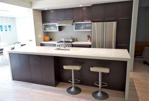 Contemporary Kitchen with Breakfast nook, European Cabinets, Corian counters, One-wall, Kitchen island, Undermount sink