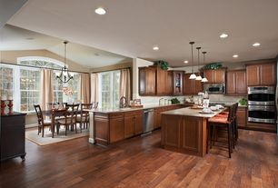 Traditional Kitchen with built-in microwave, Multiple Refrigerators, Standard height, full backsplash, Pendant light, Flush