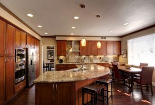 Traditional Kitchen with Flat panel cabinets, Ms International Versus Granite, Crown molding, Flush, Kitchen island, L-shaped