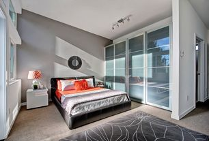 Contemporary Guest Bedroom with Carpet, flush light