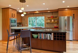 Contemporary Kitchen with Maple - Natural 3 1/4 in. Solid Hardwood Plank, Breakfast bar, Pendant light, Kitchen island, Flush