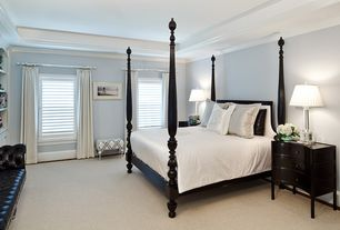 Traditional Master Bedroom with Crown molding, Built-in bookshelf, Casement, Standard height, Carpet
