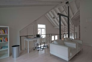 Modern Home Office with Columns, High ceiling, Art desk, Laminate floors, Exposed beam