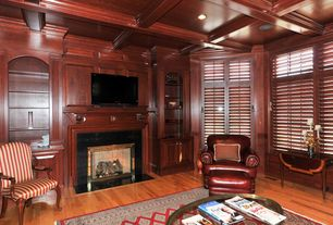 Traditional Library with Built-in bookshelf, Box ceiling, Exposed beam, Hardwood floors