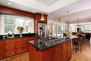 Contemporary Kitchen with Stonemark Granite-Granite Countertop in Black Pearl, Oak - natural 2 1/4 in. solid hardwood strip