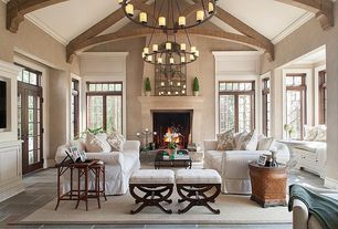 "Traditional Living Room with Restoration hardware pillar candle round chandelier 48"", Ballard designs serena bench"