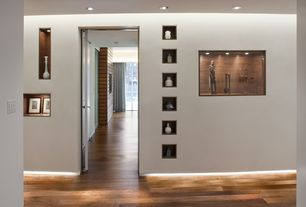 Modern Hallway with Built-in bookshelf, Hardwood floors, can lights, High ceiling