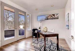 Home Office with Hardwood floors, French doors, Safco Products Apres Table Writing Desk