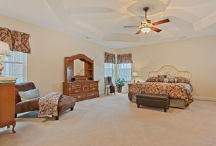 Traditional Master Bedroom with Standard height, Ceiling fan, double-hung window, Carpet