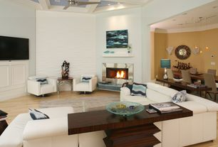 Contemporary Living Room with Ceiling fan, Box ceiling, Hardwood floors, interior wallpaper