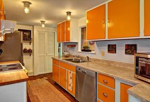 Eclectic Kitchen with Inset cabinets, Pental halila gold limestone, Limestone, U-shaped, Louvered door, Wood counters