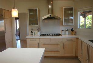 Contemporary Kitchen with Glass panel, Pendant light, Kitchen island, Limestone, Limestone counters, Flush, L-shaped