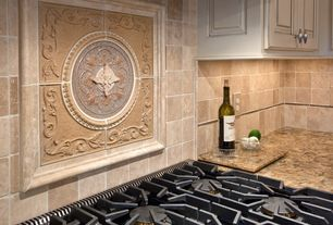 Traditional Kitchen with Granite countertop in carnival, Paint, Ivory 4 in. x 4 in. Honed Travertine Floor and Wall Tile