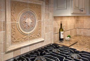 Traditional Kitchen with Limestone Tile, Nimbus Smoke Glaze on Maple, Flush, One-wall, Stone Tile, High ceiling, Raised panel