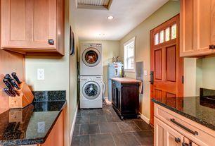 Craftsman Laundry Room with Built-in bookshelf, Glass panel door, soapstone tile floors
