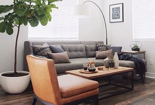 Traditional Living Room with Arc floor lamp, Dania barrima dining chair, Cb2 grove floor lamp, Paint, Wood top coffee table