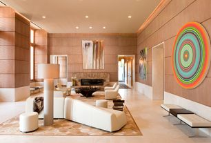Contemporary Great Room with sandstone tile floors, stone fireplace