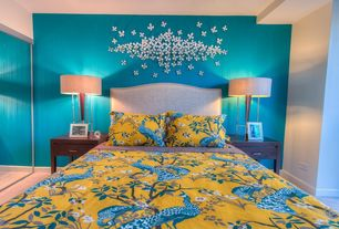 Tropical Master Bedroom with DwellStudio Peacock Citrine Duvet Cover, Carpet, DwellStudio Peacock Citrine Sham, High ceiling