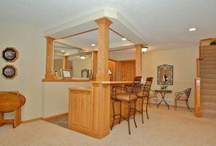 Traditional Bar with flush light, Carpet, can lights, Standard height
