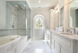 Contemporary Master Bathroom with Complex Marble, Bellmont - 1900 series monticello white paint, Complex marble counters