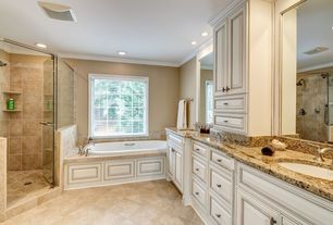 Traditional Master Bathroom with Crown molding, Master bathroom, Complex granite counters, Flush, Handheld showerhead