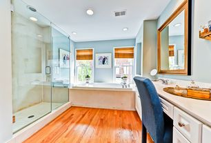 Modern Master Bathroom with Master bathroom, Raised panel, Hardwood floors, Undermount sink, Corian counters