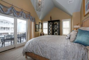 Traditional Master Bedroom with High ceiling, Chandelier, Carpet