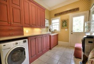 Country Laundry Room with Mural, Concrete tile , Standard height, drop-in sink, laundry sink, Built-in bookshelf, Drying Rack