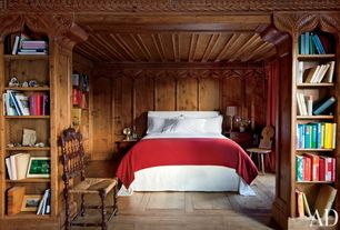 Traditional Guest Bedroom with Box ceiling, Standard height, Built-in bookshelf, Hardwood floors, Crown molding