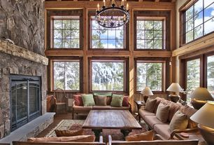 Rustic Living Room with HGTV home furniture collection upholstery woodlands relaxed couch in soft and elegant exposed wood c