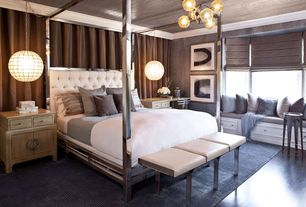 Contemporary Master Bedroom with interior wallpaper, INSPIRE Q Solivita Canopy Button Tufted Metal Poster Bed, Chandelier