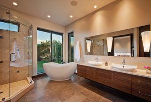 Contemporary Full Bathroom with Signature hardware iredell acrylic freestanding tub, Vessel sink, Flush, frameless showerdoor