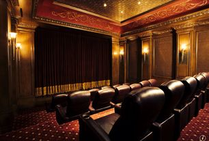 Traditional Home Theater with Wall sconce, Carpet, interior wallpaper, can lights, Standard height, Box ceiling