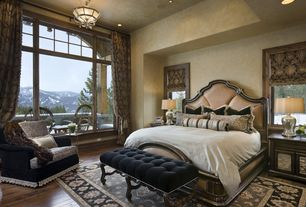 Traditional Master Bedroom with flush light, can lights, High ceiling, Casement, Hardwood floors