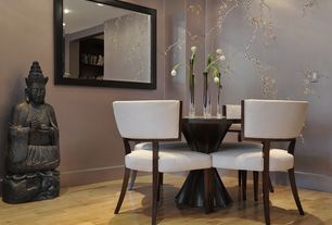 Contemporary Dining Room with Vintage maple natural solid real hardwood flooring, Hardwood floors, Chinisorie wallpaper