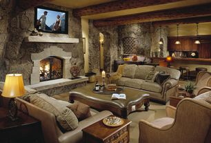 Rustic Living Room with Standard height, stone fireplace, Exposed beam, Fireplace, Hardwood floors
