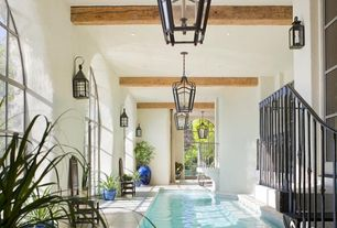 Traditional Swimming Pool with Transom window, Arched window, French doors, Indoor pool